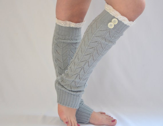 PLUS SIZE Fit For 16-18u0026quot; Calves Gray Knit Lace Leg Warmers ...