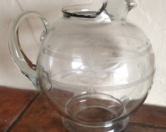 Vintage Etched Glass Pitcher