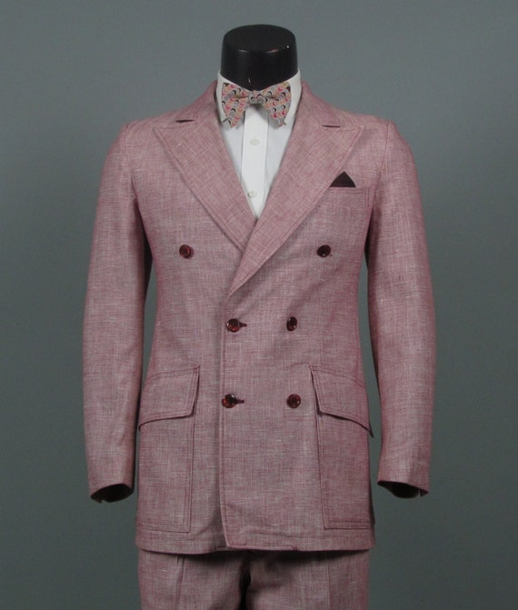 Vintage Mens Suit 1970s BUTCHER LINEN Double Breasted