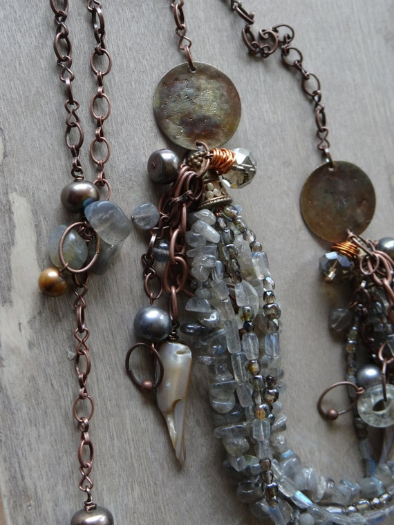 What the water gave me-mixed glass,gemstone and shell tribal necklace