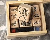 Korean Stamp Set(with ink) - Wooden Rubber Stamp Set - Diary Stamps - Deco Stamps - New York