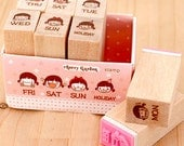 Schedule Stamps Set - Wooden Rubber Stamps - Diary Stamps - 8pcs