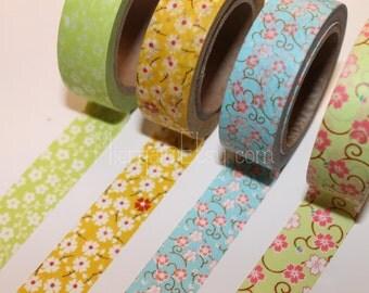 Washi Tape Set - Japanese Washi Tape - Masking Tape - Deco Tape - 4 Rolls - WTS2001