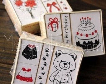 Wooden Rubber Stamp Set - Rubber Stamp Set - Diary Stamps - 3 styles in