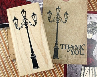 HQ Antique Street Lamp Stamp - Rubber Stamp - Deco Stamp - Diary Stamp - Filofax - Zakka