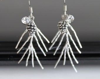 Silver fir twig earrings, oxidized 3D pine cone earrings, winter long earrings, simple everyday jewelry