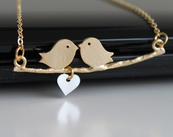 925 sterling silver heart necklace, birds in love necklace, matte gold brunch necklace, simple gold necklace, everyday jewelry