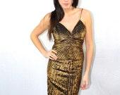Vintage Gold Shimmer Dress Size Small Medium
