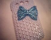 Samsung i9300 Galaxy SIII S3 White Pearls and Rhinestone Tiffany Blue Crystal Bow Bling case