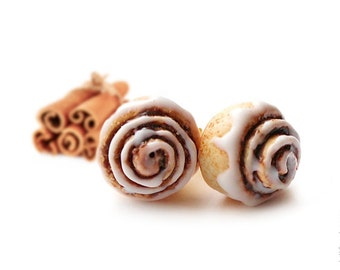 FREE SHIPPING - Cinnamon Roll Stud Earrings - Small Ear Studs - Earrings Post - Food Jewelry