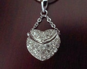 "Sterling Silver CZ Heart Locket Pendant with 18"" Chain"