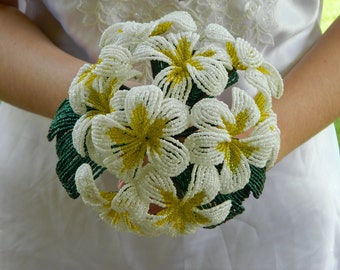 White and Yellow Plumeria French Beaded Flower Bridal Bouquet