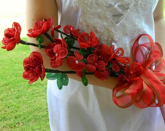 Red French Beaded Bridal Floral Arrangement Bouquet