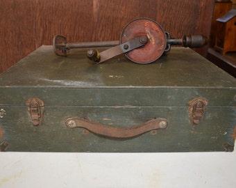 Vintage Army Green Industrial Wood Box