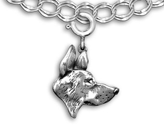 Silver German Shepherd Dog Charm