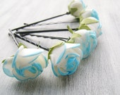 White Blue Flowers Bobby Pins, Roses Bridal Hair Pins, Woodland, Bridal Hair Clip, Flower Clips, Wedding Hair Accessory, set of 6