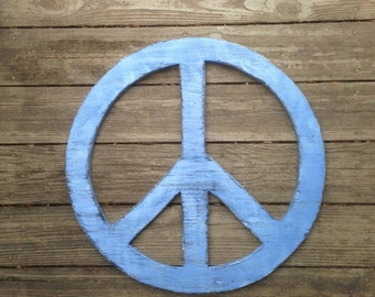 Rustic blue peace sign
