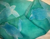 Leatherback Sea Turtles 11 x 60 Hand Painted Silk Scarf