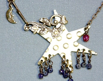 Star, Sapphire, Ruby Moon Necklace