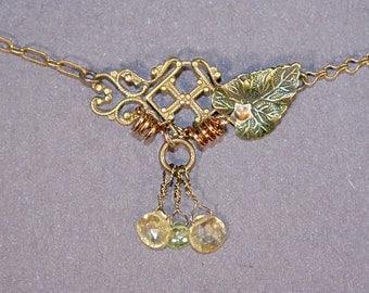 Citrine, Peridot Nature Necklace
