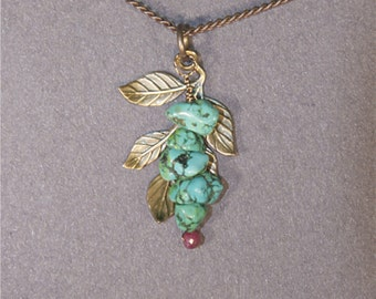 Turquoise, Ruby Leaves Necklace