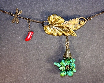 Turquoise, Red Coral, Dragon Fly Necklace