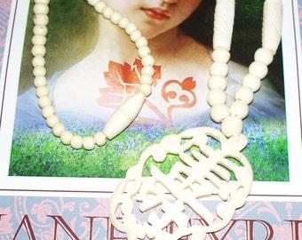 Handcarved Bone Pendant Necklace - Vintage/Antique - Chinese Symbol for Longevity
