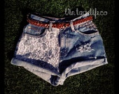 Vintage High Waist Denim LACE Shorts distressed with Studs ALL Sizes Avail