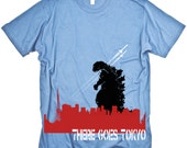 Godzilla There Goes Tokyo (on baby blue) MENS American Apparel Tshirt