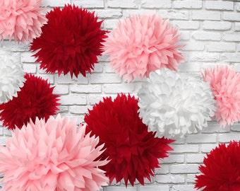 Tissue paper Pom Poms Set of 15