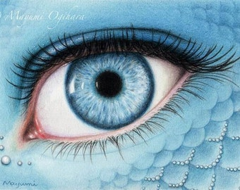 Shades of Blue - Open edition art print, colored pencil drawing