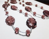 Plum Purple Crinkly Leaves Glass Necklace