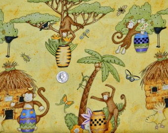 Tiki Hut Drum Monkey by Debbie Mumm - 24 inches x 42 inches