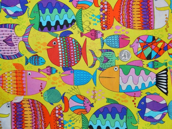 Colorful patterned fish fabric by the yard for Fish fabric by the yard