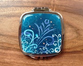 "Square Compact Mirror 3"" x 2.6"" x 0.3"" - ""Kalenchoe Blooms"""""
