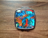 "Square Compact Mirror 3"" x 2.6"" x 0.3"" - ""Apocalyptic Blooms"""