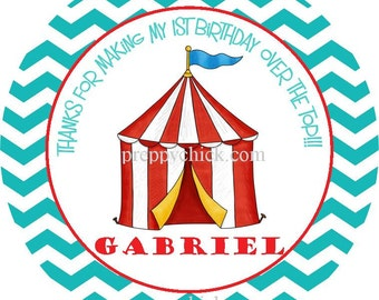 Circus Carnival Big Top Blue Round Labels Stickers for use as Gift Tags, Party Favors, or Address Labels