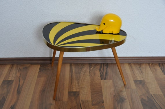 Original Mid Century Plant Stand. 1950s. Striped. Black and yellow. Small Table. Germany.