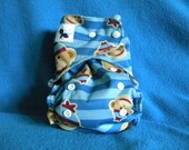 Sock Monkey All In One (AIO) or AI2 One Size Cloth Diaper