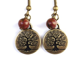 Tree of Life Earrings Yoga Jewelry Bohemian Picasso Jasper Wisdom Life Strength Gemstone Unique Gift for Her Under 20 Item Y71