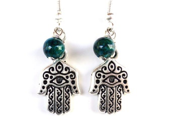 Hamsa Evil Eye Earrings Yoga Jewelry Calming Protection Chrysocolla Unique Gift for Her Birthday Mothers Day Under 20 Item Y76