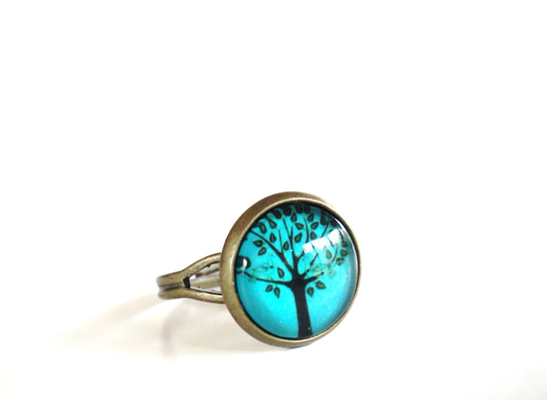 tree of ring jewelry adjustable aqua blue green