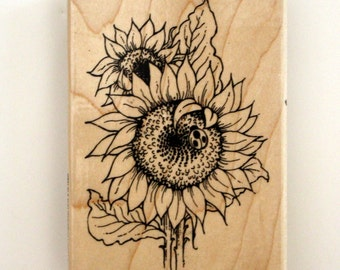 Sunflower with Ladybug Floral Rubber Stamp for Crafting Supply