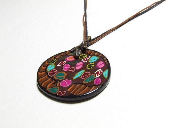 Brown Eye-catching Multicolor Pendant Unique Neckpiece Handmade in Ireland