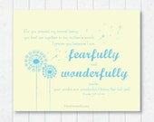 Fearfully and Wonderfully Made  . Psalm 139:13-14 Scripture Print with Dandelions
