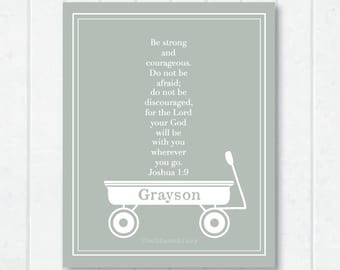 For Him . Wagon Personalized Childrens Scripture Print with with Joshua 1:9