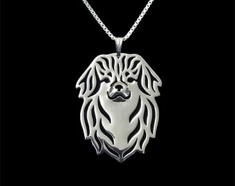 Tibetan Spaniel jewelry - Sterling silver pendant and necklace
