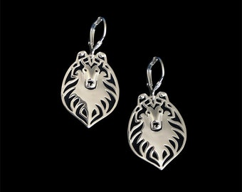 Rough Collie earrings - sterling silver
