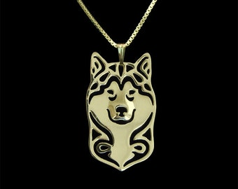 Alaskan Malamute - Gold pendant and necklace.