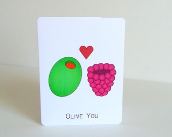 Love Greeting Card - Olive You Love or Valentine Card